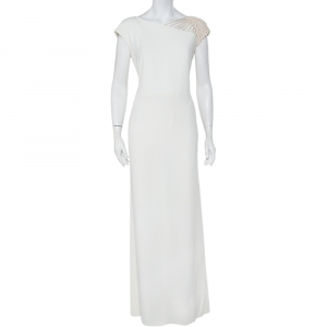 Valentino Boutique Vintage White Crepe Mesh Sleeve Detail Maxi Dress L - used
