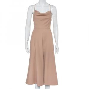Valentino Beige Wool & Silk Open Back Detail Midi Dress S