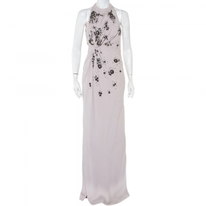 Valentino Lilac Embellished Crepe Open Back Draped Gown M - used