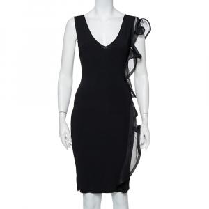 Valentino Black Knit Structured Ruffle Detail Sheath Dress S - used