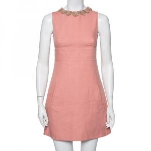 Valentino Pink Linen Embellished Neck Detail Sleeveless Sheath Dress S - used