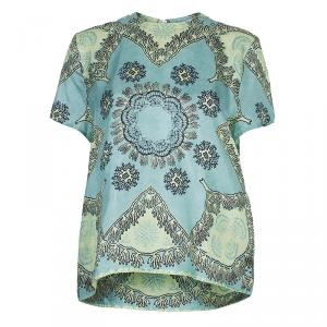 Valentino Mint Green Printed Short Sleeve Silk Top M - used