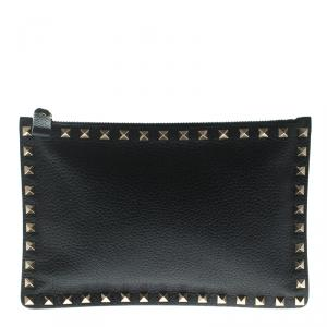 Valentino Navy Blue Leather Rockstud Pouch
