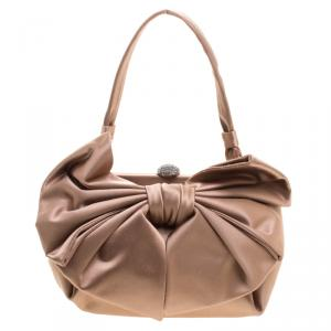 Valentino Metallic Brown Satin Bow Evening Bag