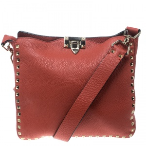 Valentino Coral Red Leather Rockstud Messenger Bag