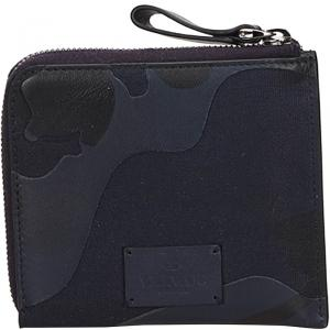 Valentino Navy Blue Canvas and Leather Camouflage Zip Around Wallet