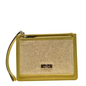 Valentino Green Leather Studded Zip Pouch