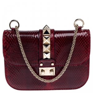 Valentino Red Rockstud Python Small Glam Lock Flap Bag