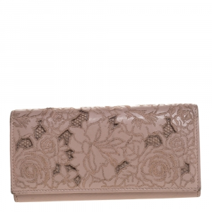 Valentino Beige Embroidered Floral Leather Flap Wallet