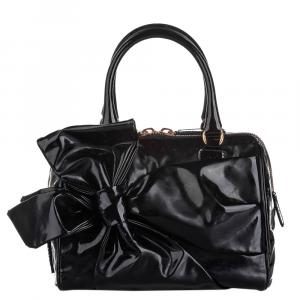 Valentino Black  Patent Leather Lacca Bow Bag