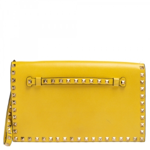 Valentino Yellow Leather Rockstud Wristlet Clutch
