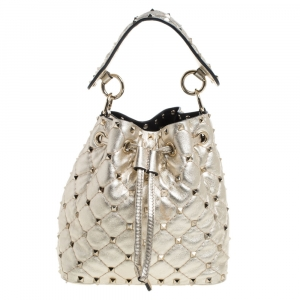 Valentino Metallic Gold Leather Small Rockstud Bucket Bag