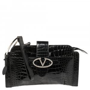 Valentino Black Croc Embossed Patent Leather Crystal Embellished Wristlet Clutch