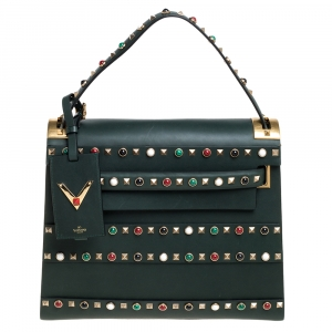 Valentino Green Studded Leather My Rockstud Top Handle Bag
