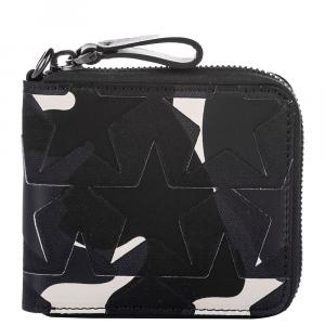 Valentino Black Leather Camo Star Zip Around Small Wallet