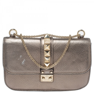 Valentino Metallic Grained Leather Medium Glam Lock Flap Bag
