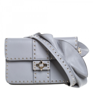 Valentino Grey Leather Mini Rockstud Ruffle Strap Bag