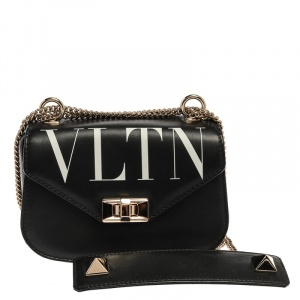 Valentino Black Leather Small VLTN Chain Shoulder Bag
