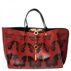 Valentino Red/Black Leather VLOGO Butterfly Shopper Tote