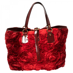 Valentino Red Floral Applique Satin and Patent Leather Shopper Tote
