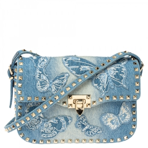 Valentino Blue Denim Butterfly Embroidered Small Rockstud Shoulder Bag