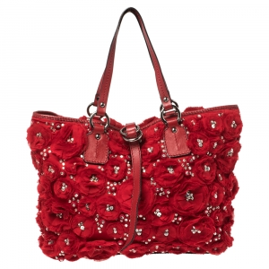 Valentino Red Satin and Leather Crystal Embellished Rosier Tote