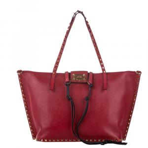 Valentino Red Leather  Rockstud Tote bag