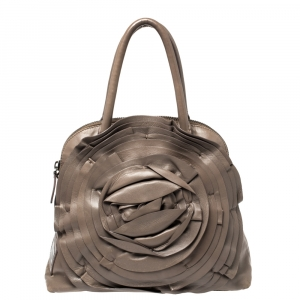 Valentino Dark Beige Leather Petale Rose Dome Satchel