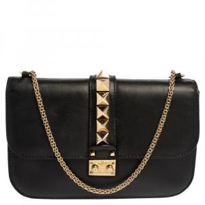 Valentino Black Leather Medium Rockstud Glam Lock Flap Bag