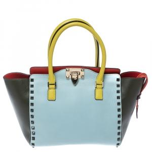 Valentino Tri Color Leather Small Rockstud Shopper Tote