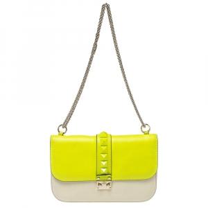 Valentino Neon Green/Cream Leather Medium Glam Lock Flap Bag