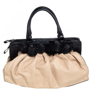 Valentino Beige/Black Leather and Snakeskin Floral Applique Frame Satchel
