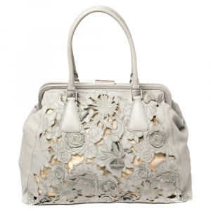Valentino Grey Floral Cut Out Soft Leather Frame Satchel