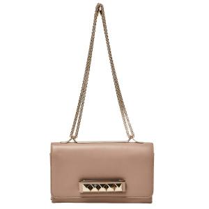 Valentino Beige Leather Medium Va Va Voom Chain Shoulder Bag