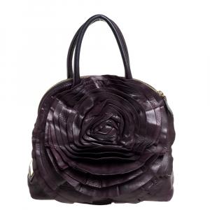 Valentino Purple Leather Petale Rose Dome Satchel