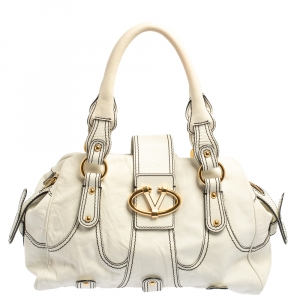 Valentino White Leather Crystal Catch Satchel