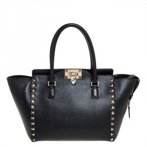 حقيبة يد فالنتينو ترابيز روكستد صغيرة جلد سوداء