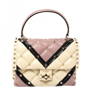 Valentino Multicolor Quilted Leather Medium Candystud Top Handle Bag