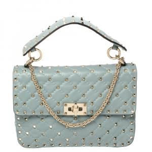 Valentino Blue Leather Medium Rockstud Spike Top Handle Bag