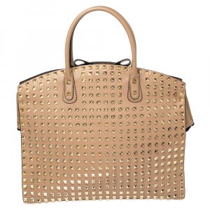 Valentino Beige Leather Rockstud Dome Bag