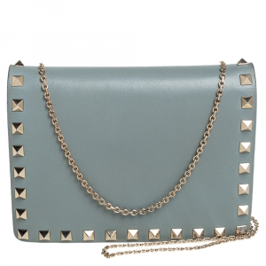 Valentino Sage Green Leather Rockstud Chain Crossbody Bag