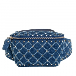 Valentino Blue Quilted Denim Rockstud Spike Belt Bag