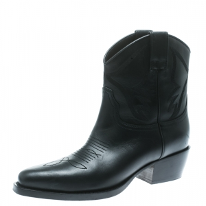 Valentino Black Texan Embroidered Leather Pointed Toe Cowboy Boots Size 36 - used