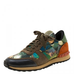 Valentino Multicolor Camo Butterfly Suede And Leather Rockrunner Sneakers Size 39