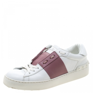 Valentino White And Pink Band Leather Open Low Top Sneakers Size 37.5