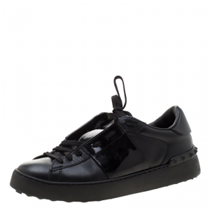 Valentino Black Leather Open Sneakers Size 37.5