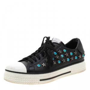 Valentino Black Leather Star Studded Low Top Sneakers 35