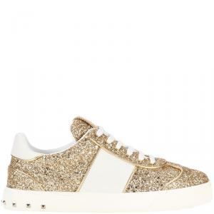 Valentino Gold/White Glitter and Leather Flycrew Sneakers Size 38