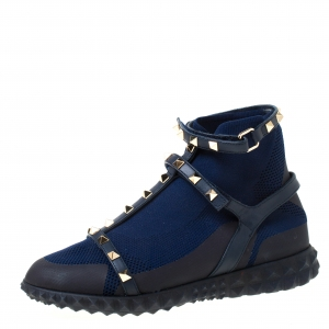 Valentino Blue/Black fabric and Leather Rockstud Body Tech Sock High Top Sneakers Size 37.5