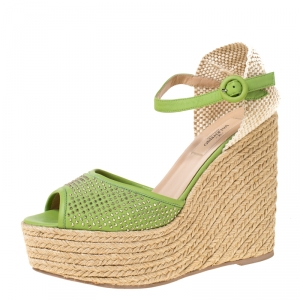 Valentino Green Studded Leather Espadrille Wedge Ankle Strap Sandals Size 39 - used